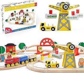 Crane Train Set-60Pcs- Wooden Tracks & Exclusive Crane & Trains-Fits Thomas, Brio, Chuggington, Melissa- Gift Packed Toy R...
