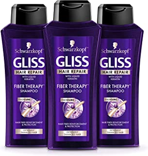 GLISS Hair Repair Shampoo Fiber Therapy, 13.6 Ounces (Pack of 3)