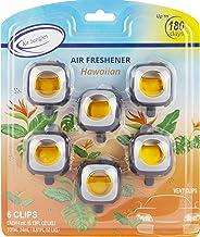 Hawaiian Scent Car Air Freshener Clip, 6 Car Freshener Vent Clips, 4ml Each, Long Lasting Air Freshener for Car, Up to 180 Days Car Refresher Odor Eliminator