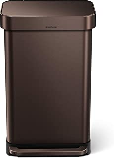 simplehuman 45 Liter / 12 Gallon Stainless Steel Rectangular Kitchen Step Trash Can with..