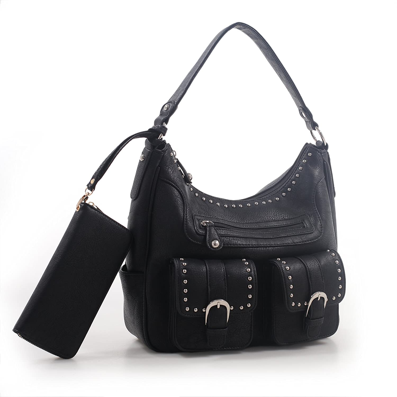 Emperia Roxie Dual Buckle Concealed Carry Hobo Bag and Wristlet