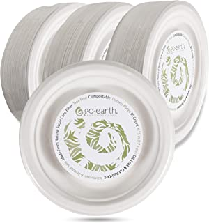 Go Earth Disposable Plates - Eco-Friendly Alternative to Plastic Plates – 6.75 Inch Compostable Plates for All Occasions (Go Earth Plates are Made from All Natural Sugar Cane Fiber)- Pack of 50 White