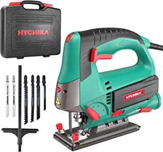 Sponsored Ad – Jigsaw, 800W Max Cutting Depth 110mm for Wood, 800-3000SPM HYCHIKA Electric Jigsaw with Laser, 6 Variable S...