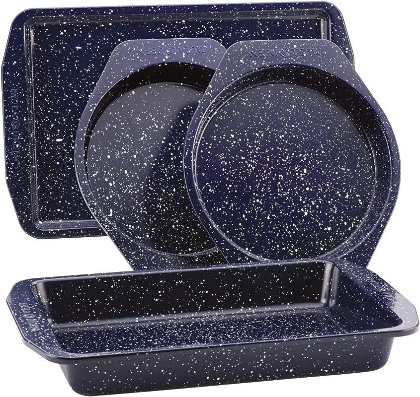 Paula Deen 46812 Nonstick Speckled Bakeware Set44 Deep Sea Blue Speckle 4 Piece