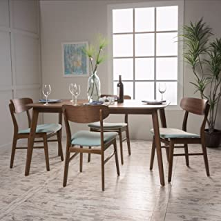 Christopher Knight Home Lucille Fabric/Natural Walnut Finish 60