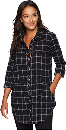 Windowpane Flannel Plaid Long Sleeve Button Front Shirt with Pockets