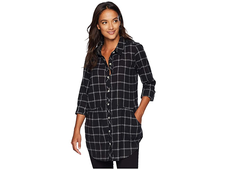 Mod-o-doc Windowpane Flannel Plaid Long Sleeve Button Front Shirt with Pockets (Black) Women