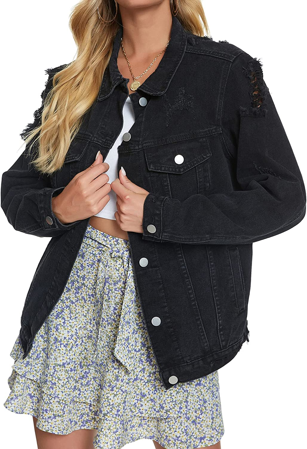 Courier shipping free shipping Oversized Denim Jacket for Women Sleeve Classic Long Loose Jean