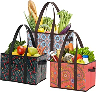 Foraineam Reusable Grocery Bags 3 Pattern Assorted Durable Heavy Duty Grocery Totes Bag Collapsible Grocery Shopping Box B...