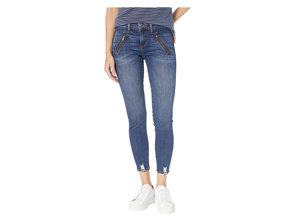KUT from the Kloth Connie Ankle Zip Front Welt Pocket Skinny Jeans in Pardon w/ Dark Stone Base Wash (Pardon w/ Dark Stone Base Wash) Women