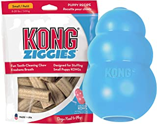 KONG - Puppy and Ziggies - Puppy Toys for Teething with Treats (Colors May Vary) - for Small Puppies