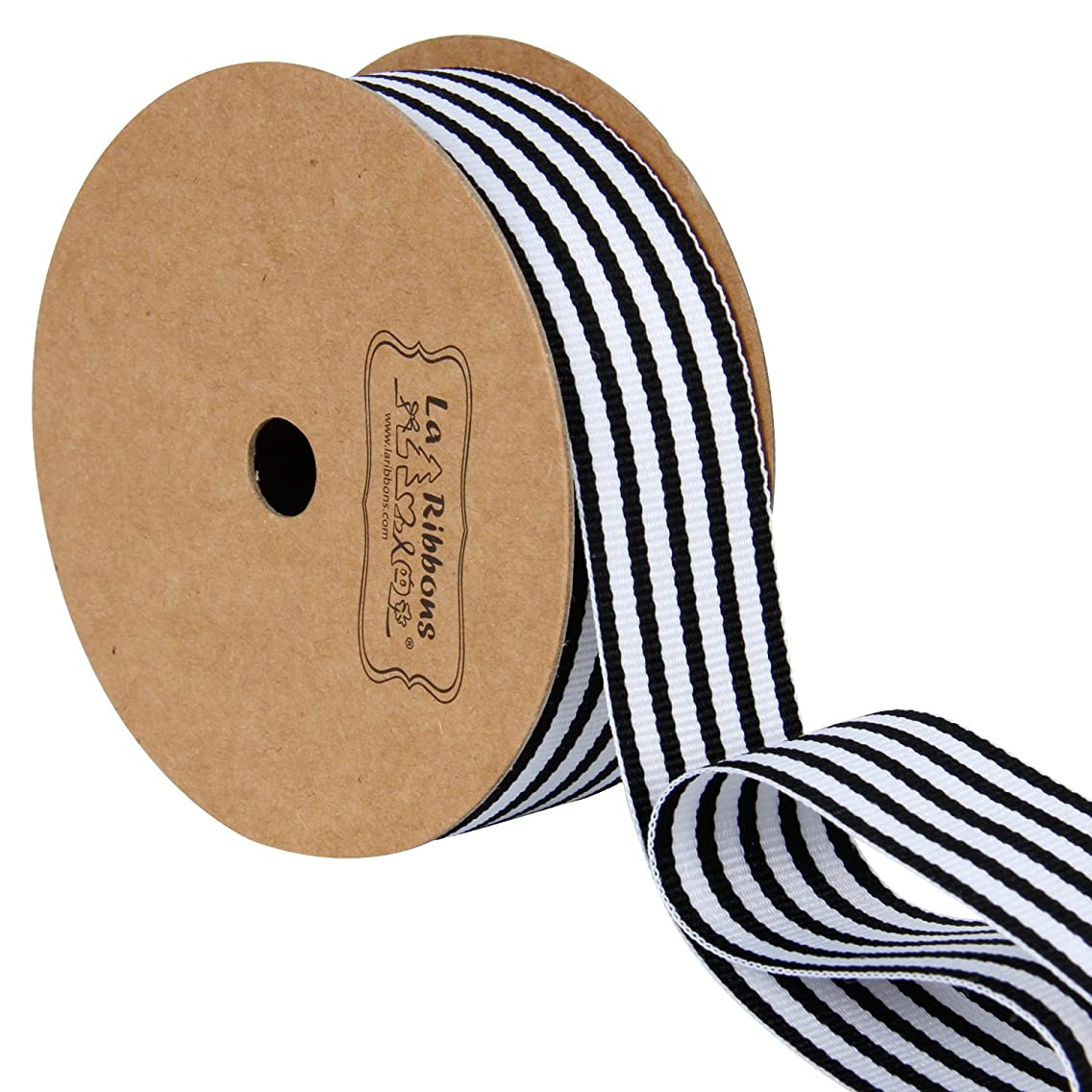 LaRibbons Black and White Striped Grosgrain Ribbon/Gift Wrap Ribbon, 1 Inch by 10 Yard/Spool