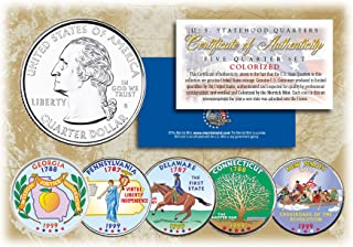 1999 US Statehood Quarters COLORIZED Legal Tender 5-Coin Complete Set w/Capsules