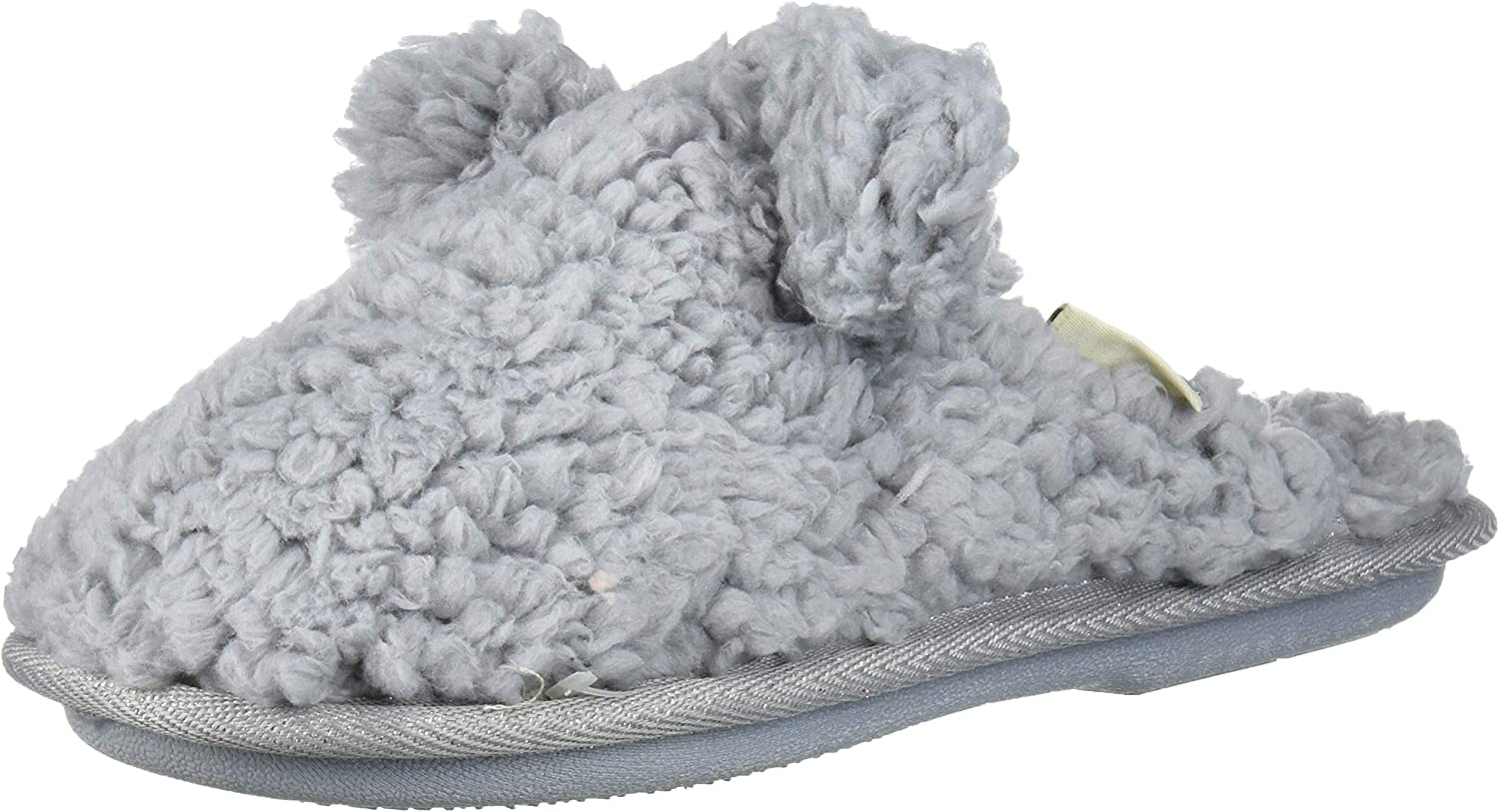Dearfoams Unisex-Baby Kids Toddlers faux sherpa Scuff with Ears Slipper, Sleet, 11-12 Toddler Medium US Toddler
