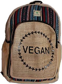 Mochila de cáñamo para la escuela, viajes, ocio, al aire libre – con compartimento para portátil, estampado hecho a mano en Nepal – Modelo vegano 134