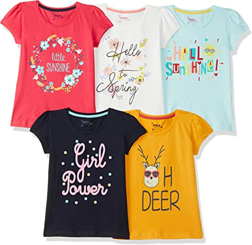 Max Girl's Regular fit T-Shirt (Pack of 5)