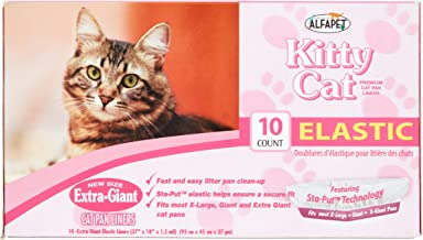 Pack of 4 - Alfapet Kitty Cat Elastic Cat Pan Liners, 10 count