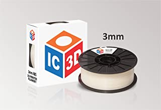 IC3D Natural 3mm ABS 3D Printer Filament - 2.1lb Spool - Dimensional Accuracy +/- 0.05mm - Professional Grade 3D Printing Filament - MADE IN USA