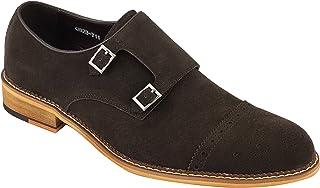 Brun Noir réel en Cuir suédé Double Monk Bracelet Rétro Vintage Mod Mocassins Chaussures pour Hommes