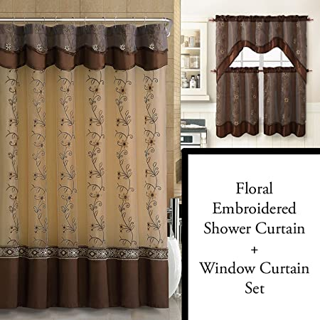 Chocolate Brown Shower Curtain and 3 Pc Window Curtain Set: Bathroom Decor Set, Double Layer, Floral Embroidery (Chocolate Brown)