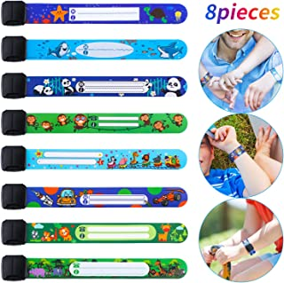 8 Pieces Child Safety ID Wristband Reusable Identification Bracelet Adjustable Waterproof ID Bands for Boys, 8 Styles