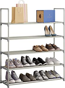 Function Home 5 Tier Shoe Rack, 25 Pair Metal Shoe Tower, Shoe Storage Organizer for Entryway Closet in Grey