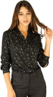 Allegra K Women's Stand Collar Long Sleeve Metallic Dots Stars Blouse Top