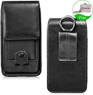 LUXMO Vertical Phone Holster Genuine Leather Case Belt Clip Pouch Carrying Cover [Key Holder Case] with Card Slots Hanging Ring for iPhone 6 Plus 6s Plus 7 Plus 8 Plus Xs MAX Galaxy S8 (Black)