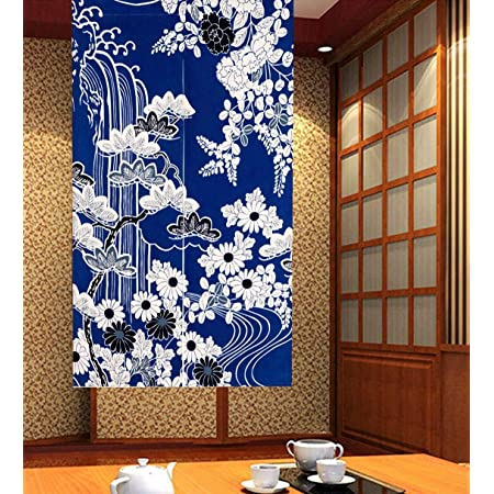 Japanese Noren Curtain Tapestry High Grade Shijira Weave Cotton Blue Long 33.46X66.93 Inch Norenmonogatari Made in Japan Limited Production
