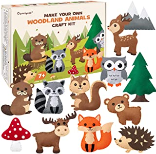 CiyvoLyeen Woodland Animals Craft Kit Forest Creatures DIY Sewing Felt Plush Animals for Kids Beginners Educational Sewing...