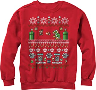 Nintendo Men's Mario and Bowser Ugly Christmas Sweater Sweatshirt