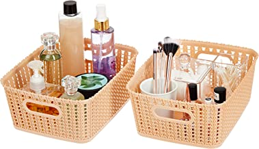 Amazon Brand - Solimo Storage Basket, Set of 2, Medium, Beige