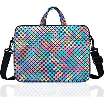 """15.6-Inch Laptop Shoulder Carrying Bag Case Sleeve For 14"""" 15"""" 15.6 inch Macbook/Notebook/Ultrabook/Chromebook, Mermaid Scale (Colorful)"""