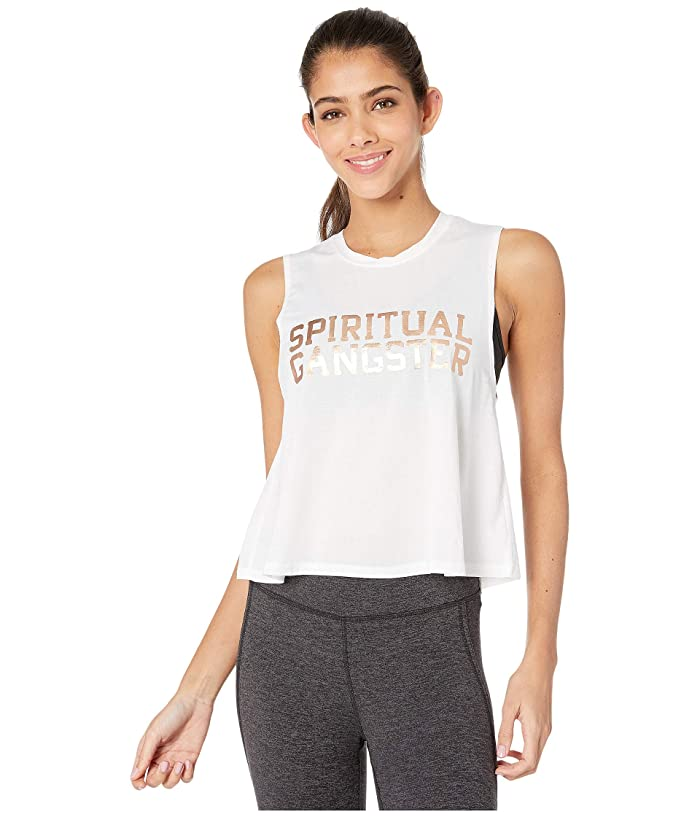 Spiritual Gangster Active Crop Tank (White) Women
