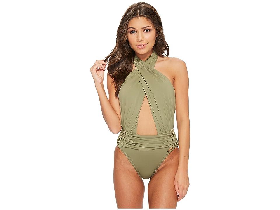 Vince Camuto Riviera Solids Wrap Halter Neck One-Piece Swimsuit (Avocado) Women