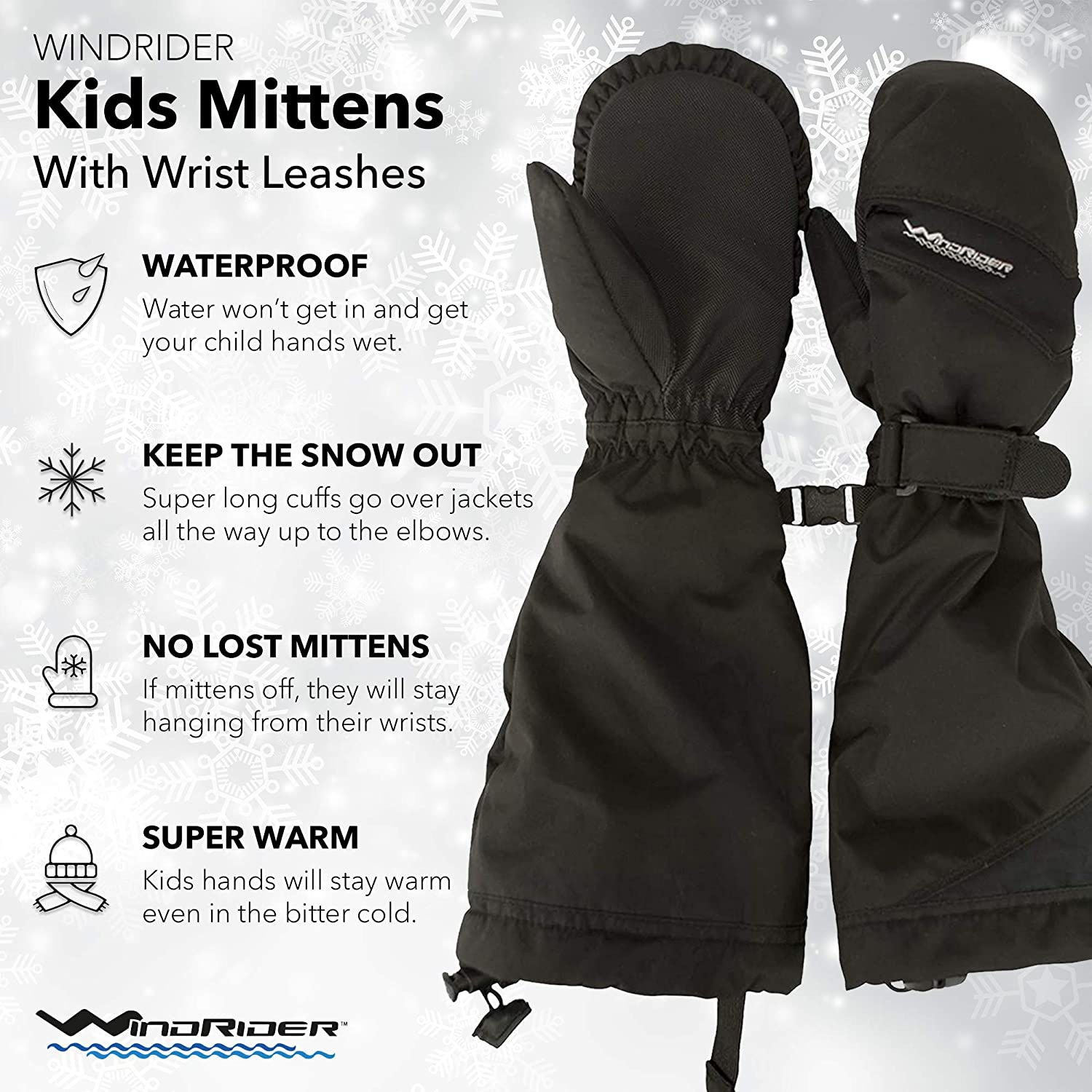 WindRider Toddler Waterproof Mittens   Elbow Length Cuff to Keep Snow Out   Wrist Leashes - No More Lost Mittens