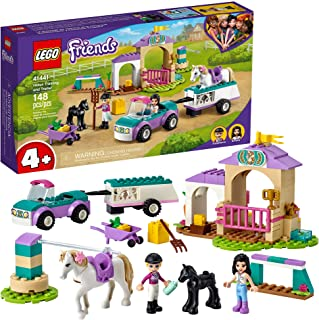 LEGO Friends Horse Training and Trailer 41441 Building Kit Friends Stephanie and Emma and 2 Animals; New 2021 (148 Pieces)