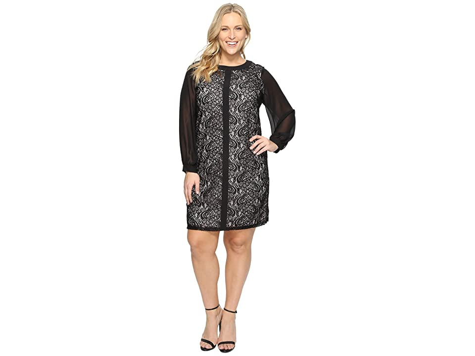 London Times Plus Size Fan Feather Shift Dress (Black) Women