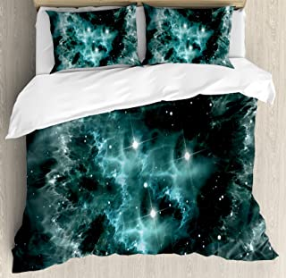 Ambesonne Outer Space Duvet Cover Set Queen Size, Space Nebula in The Space with Crystal Star Cluster Galaxy Solar System Cosmos Print, Decorative 3 Piece Bedding Set with 2 Pillow Shams, Teal