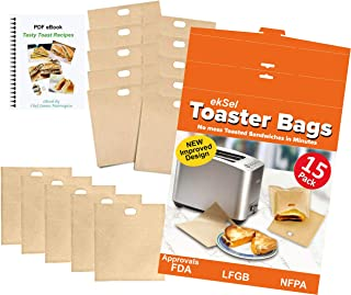 ekSel Toaster Bags Gluten Free Toasts Reusable Non-Stick Any Size Bread FDA Approved 15 Pack