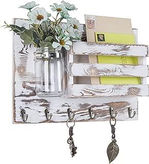 MyGift Whitewashed Wood Wall Mounted Mail Sorter with 6 Key Hooks & Mason Jar