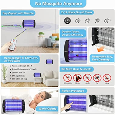 BUGONE Bug Zapper Electric Mosquito Insect Fly Trap Killer Timer Lamp with Remote Controller for Indoor & Home, Powerful