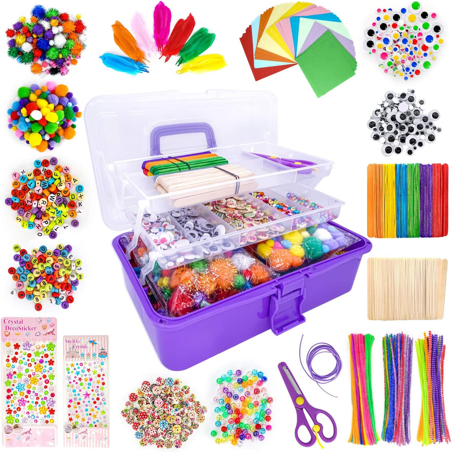 1405 Pcs Art and Craft Supplies for Kids, Toddler DIY Craft Art Supply Set Included Pipe Cleaners, Pom Poms, Feather, Folding Storage Box - All in One for Craft DIY Art Supplies (Purple)