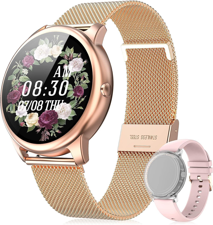 EasySMX Reloj Inteligente Mujer Smartwatch Mujer, Reloj Inteligente para Android/iOS con 2 Correas, 26 Funciones como Pulsómetro, Podómetro, Monitor de Sueño, Foto Remota, Llamada o Calorías e