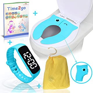 Toddler Potty Training Combo Kit | Water Resistant Potty Reminder Watch & Foldable Portable Potty Seat Cover (All in one) ●Bonus: Illustrated Potty Training E-Book Short Story
