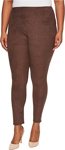 Plus Size High-Waist Suede Leggings
