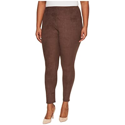 Lysse Plus Size High-Waist Suede Leggings (Bourbon) Women