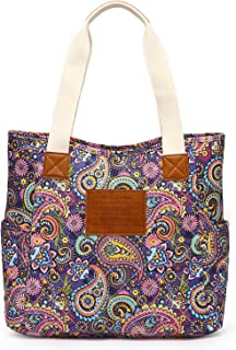 Malirona Canvas Beach Bags and Totes for Women Zippered Beach Shoulder Bag (Purple)