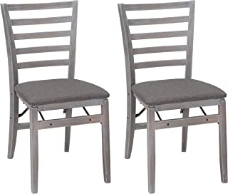 Cosco Wood Folding Chair with Fabric Seat (2 Pack), Gray