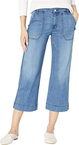 Non Conformist Wide Leg Painter Crop Jeans in Blue Lagoon